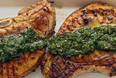 Marinated Pork Chops With Basil Pesto