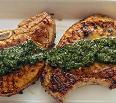 Marinated Pork Chops With Basil Pesto