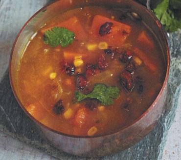 Sweetcorn, Butternut and Chorizo soup